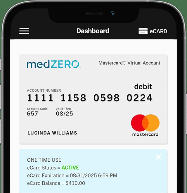 Mobile Phone showing medZERO Dash with MasterCard®